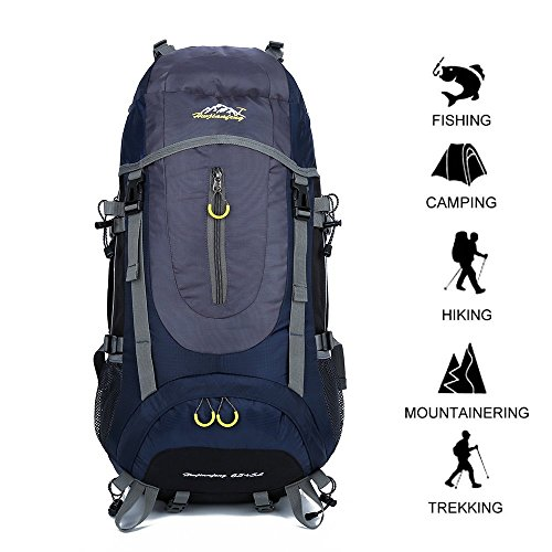 GOHYO Hiking Backpack 70L Waterproof Ultra Lightweight Daypack Travel Climbing Fishing Backpack, Internal Frame Backpack,Trekking Camping Outdoor Backpack Bag a Rain Cover (Dark BlueL)
