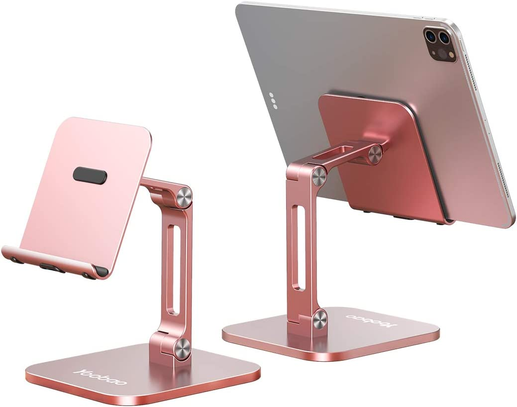 Yoobao Tablet Stand Multi-Angle Tablet Holder Desktop iPad Stand Adjustable & Foldable Aluminum Cell Phone Stand for 4-13'' iPad Pro Air Mini Kindle iPhone 11 Pro XR Xs Max & More-RG