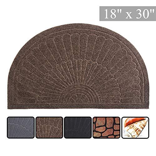 (E-view Half Round Door Mat Mud Dirt Trapper Shoe Scraper Mat Entry Mat Rugs for Front Door Low Profile Indoor Outdoor Washable (Coffee) )