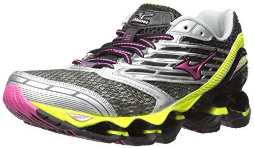 Mizuno Women's Wave Prophecy 5 Running Shoe, Gunmetal/Fuchsia Purple, 7 B (Womens Prophecy Sport Shoe)