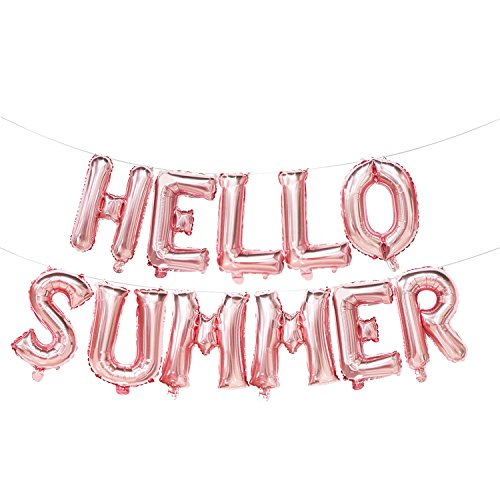 - Hello Summer Balloons Rose Gold | Hello Summer Banner | Summer Decorations | Rose Gold Pool Party Decorations | 16inch