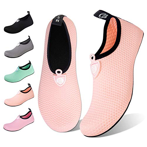 Water Shoes for Womens Mens Barefoot Quick-Dry Aqua Socks for Beach Swim Surf Yoga Exercise New Translucent Color Soles (Dots-Naked Orange, 40/41) ()