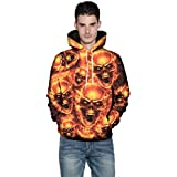 Unisex Realistic 3D Pumpkin Bat Print Drawstring Pocket Women Men Lovers Hooded Pullover Casual Hoodies Sweatshirt ODGear