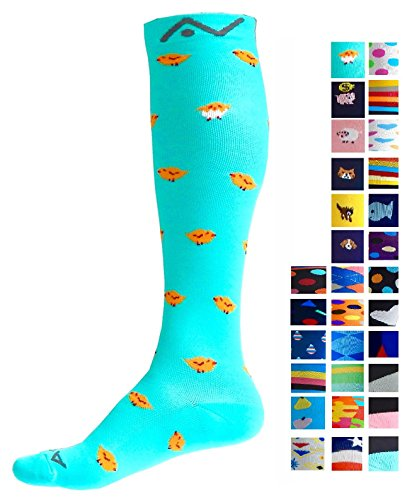 Compression Socks (1 pair) for Women & Men by A-Swift - Graduated Athletic Fit for Running, Nurses, Flight Travel, Skiing & Maternity Pregnancy - Boost Stamina & Recovery (Chicks, S/M)