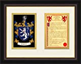 "Jones Genealogy Coat of Arms Frame Cherry with Gold Accent 9"" X 12"" Beveled-cut Double Mat Wall Décor"