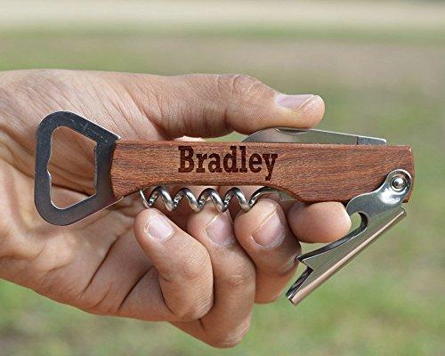 Customized Engraved Wood Corkscrew - Personalized Wine Opener - Wooden Beer Bottle Opener - Multi Tool Corkscrew by Froolu