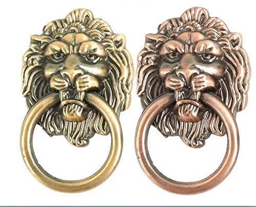 VNDEFUL 2PCS The Lion Head Pulls The Antique Zinc Alloy Beast Head Pull Ring Single Hole Blue Bronze Drawer Cabinet Door Furniture Pull Hand (Pull Ring Zinc)