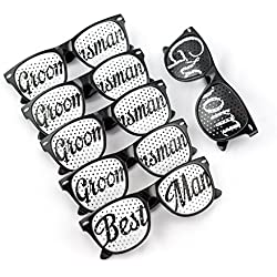 Groom Party Wedding Sunglasses - Perfect Favors for Bachelor Parties, Receptions, Pictures, and Photo Booths (1x Groom, 1x Best Man, 4x Groomsman, Black and White)