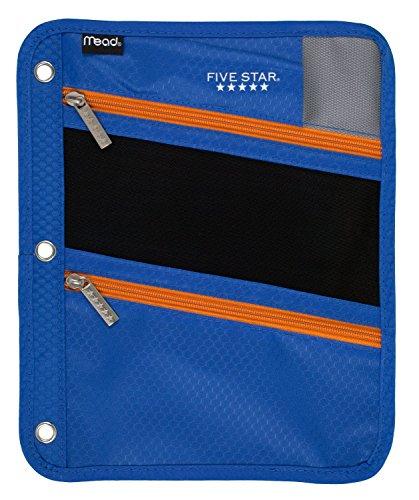 Five Star Pencil Pouch, Pen Case, Fits 3 Ring Binder, Zipper Pouch, Blue/Orange (50642CB8)