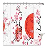 Liguo88 Custom Waterproof Bathroom Shower Curtain Polyester House Decor Collection Cherry Blossom Illustration with Abstract Sun Butterflies Festive Season Artful Design Red Pink White Decorative bat