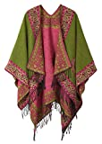 Women's Fashionable Retro Style Vintage Pattern Tassel Poncho Shawl Cape (series 2-Green)