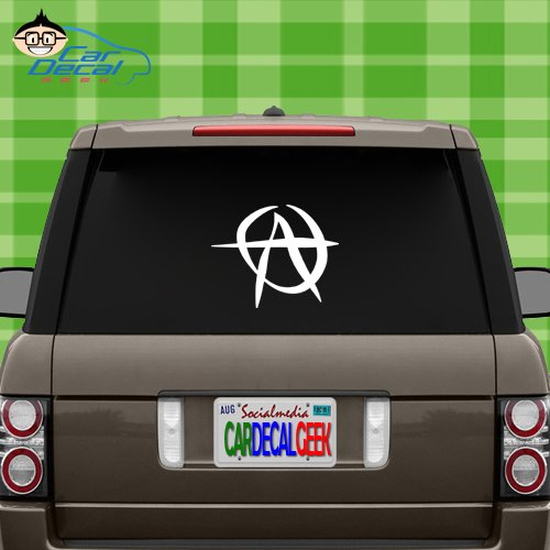 Anarchy Vinyl Decal Sticker Bumper Cling For Car Truck Window Laptop Macbook Wall Cooler Tumbler   Die Cut No Background   Multi Sizes Colors   By Car Decal Geek White  14