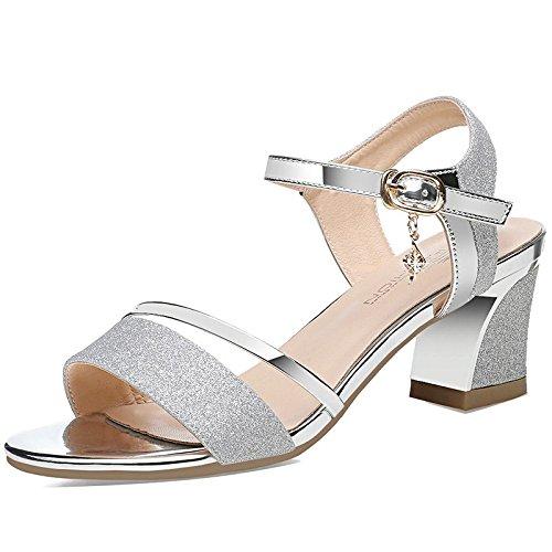 Jqdyl Tacones Nueva Gruesa con Sandalias Femenina Verano Salvaje Tacones Altos con Zapatos de Tacón Alto Hebilla de Oro Zapatos Femeninos Huecos Silver