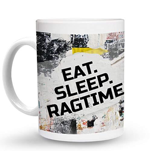 Makoroni - EAT SLEEP RAGTIME Music Musician - 11 Oz. Unique COFFEE MUG, Coffee Cup