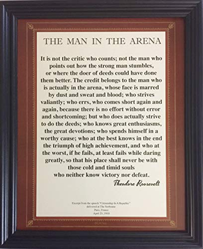 Desiderata Gallery Brand, Classic Wood Framed Words of Wisdom by Theodore Roosevelt - The Man in The Arena 10x12