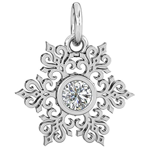 Authentic BELLA FASCINI Winter Snowflake Dangle Bead Charm - Clear Sparkle CZ - 925 Silver Fits Bracelets