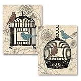 PosterArtNow Birds & Blooms; Two Beautiful Classic Botanical Birdcage Prints (11x14)
