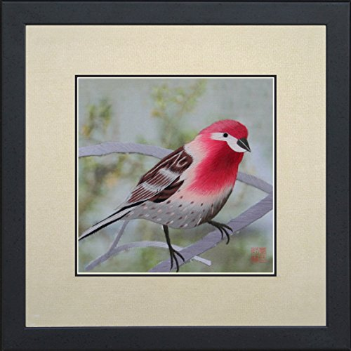 - King Silk Art 100% Handmade Embroidery Framed Red Head House Finch Oriental Wall Hanging Art Asian Decoration Tapestry Artwork Picture Gifts 31006WFB1
