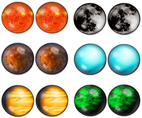 (LilMents 6 Pairs Solar System Galaxy Universe Unisex Mens Womens Stainless Steel Stud Earrings (Set)