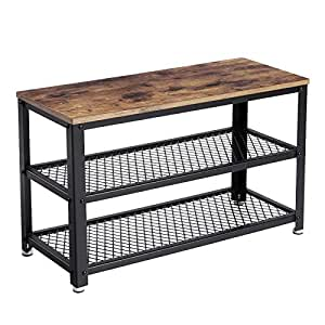 Amazon Com Vasagle Vintage Shoe Bench 3 Tier Shoe Rack