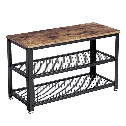 VASAGLE Industrial Shoe Bench, 3-Tier Shoe Rack, Storage Organizer with Seat, Industrial, Wood Look Accent Furniture with Metal Frame, for Entryway, Living Room, Hallway ULBS73X (Bench Storage Wood Small)