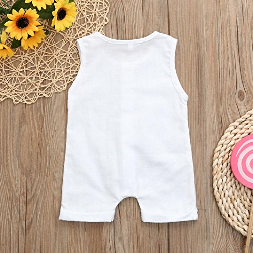 a9d04dd792e4 Franterd Baby Solid White Rompers with Big Button Kid Boys Girls Sleeveless  Playsuit Jumpsuits One-