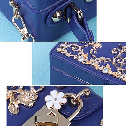 borse Blu per Borsa da per Fiori Moda festa donna la tracolla nuziale Kofun sera Intagliati a Rosa Lock Donna Borse Hollow x1XRq4tdw