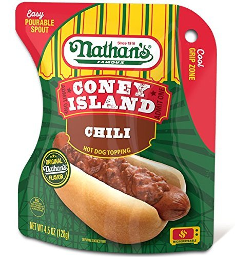 Nathans Famous Coney Island Chili Hot Dog Topping  1 Pouch   Net Wt 4 5 Oz