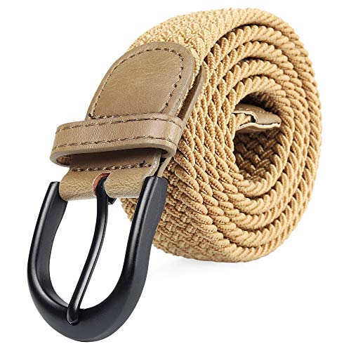 Braided Stretch Elastic Belt Pin Oval Solid Black Buckle Leather Loop End Tip Men/Women/Junior (Chardonnay Brown, Small 28