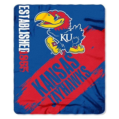 NCAA Kansas Jayhawks Painted Printed Fleece Throw Blanket, 50