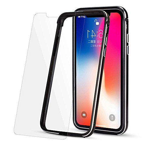 Ultra Thin Aluminum Bumper Case (NO Back) for 5.8inch iPhone X Luxury Metal Frame + Soft Silicone Hybrid Phone Cover [with Front Screen Protection] for Apple iPhoneX (10) Cases (Black) Silicon Bumper Frame