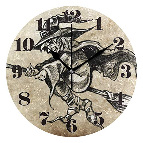 (senya Wall Clock Silent Non Ticking, Round Sketch Wizard Art Clock for Home Bedroom Office Easy to Read)