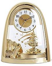 Mantel Clocks, Top Crystals Pendulum Modern Stylish Silent Glass & Gold Two Tone Quartz Art Arched Design Standing Mirror Desk Table Clocks Shelf Clocks Gift (23cm)