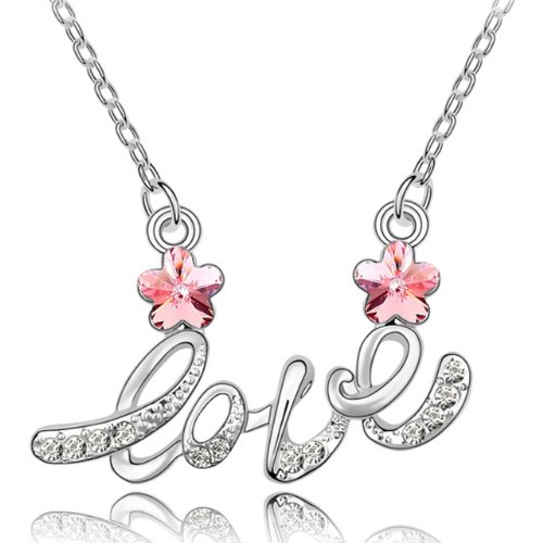 Dahlia Love Letter Cherry Blossom Rhodium Plated Necklace with Crystals from Swarovski, Pink ()