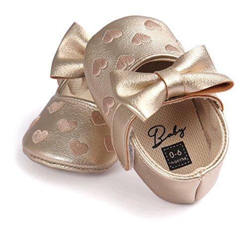 Dorado Niño De Para Bebé auxma Único Antideslizante Niña 0 Suave Zapatos Meses Zapatillas Bowknot 18 Cuero gwzPqnW4ZB