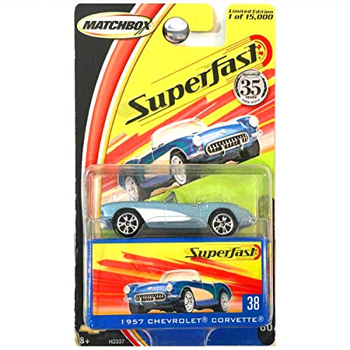 Matchbox 2004 35th Anniversary Superfast 1957 Chevrolet Chevy Corvette Convertible Light Blue #38