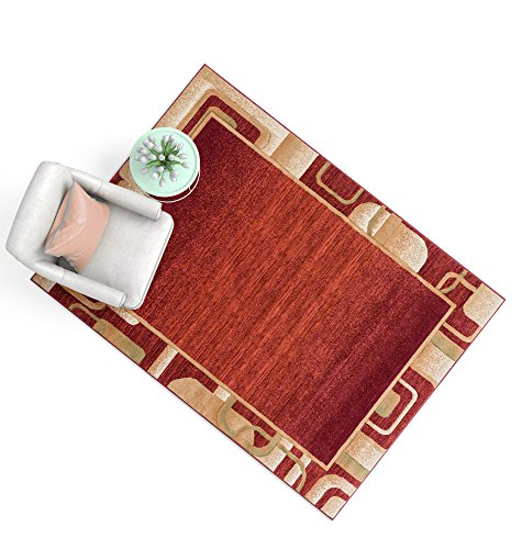 Fern Border Outdoor Rug (Salotto Red Geometric Border Hand Carved Modern Area Rug 2 x 3 ( 2' x 3' ) Easy to Clean Stain & Fade Resistant Abstract Contemporary Thick Soft Plush)