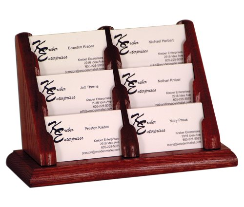 Wooden Mallet 6 Pocket Countertop Business Card Holder Display Rack Mahogany Electronics, Accessories, Computer