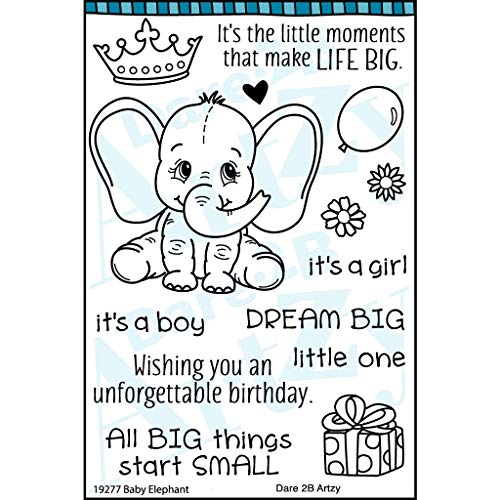 Dare 2B Artzy Baby Elephant Clear Cling Rubber Stamp Set 19277