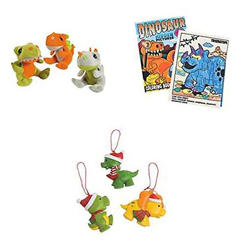 The Perfect Christmas Gift Bundle. Dinosaur Plush, Coloring Book, And Christmas Tree Ornament.