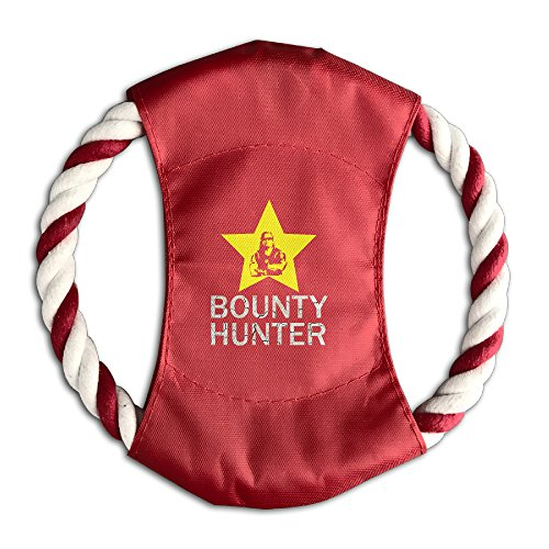 Dog The Bounty Hunter Outdoor Dog Training Frisbee Canvas Flying Disc Rope Frisbee Dog Chew Toys Red ()