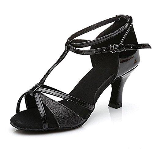 Latin Dance Sandalen Leder Salsa Ballsaal Soft Sohlen Schnalle Thin High Heels Für Frauen Black