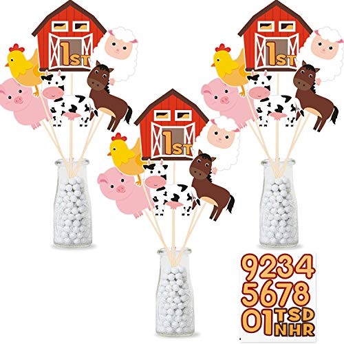 Farm Birthday Party Centerpiece Sticks, DIY Farm Animals Table Decorations Barnyard Cutouts for Baby Shower, Birthday Decorations Set of 18 Cutouts