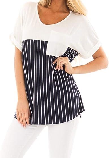 Blusa Elegante Moda Camisas Mujer Verano Rayado Bolsillos Delanteros Anchos Cuello Redondo Basic Manga Corta Casual Tops Cómodo Camisa Ropa: Amazon.es: Ropa y accesorios