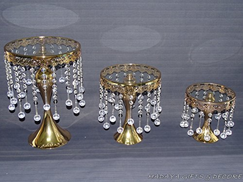 Set of 3 elegant look Round Pedestal Cake Stand,real glass,with REAL Crystas Beads, Color: Gold