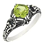 Antique Finished Sterling Silver Cushion Cut Genuine Peridot Filigree Ring (1 CT.T.W)