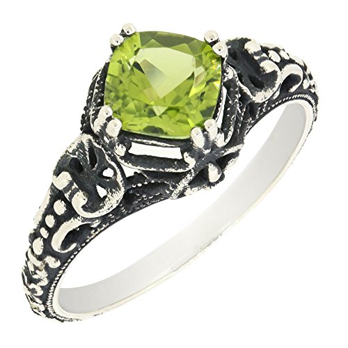 (Antique Finished Sterling Silver Cushion Cut Genuine Peridot Filigree Ring (1 CT.T.W))