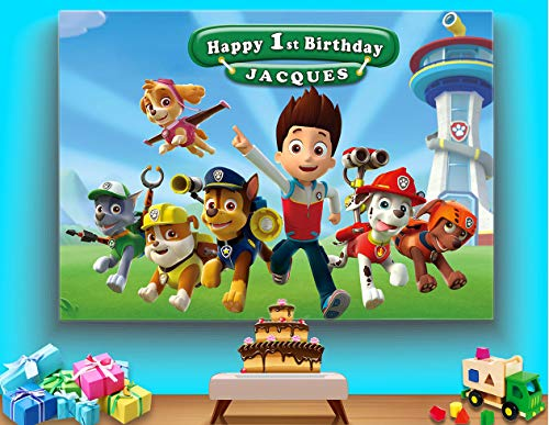 TJ Customized Cartoon Paw Patrol Theme Photo Backdrops Kids Baby Shower Birthday Party Decotation Photography Background Boys Studio Booth Props Banner Vinyl 7x5ft ()