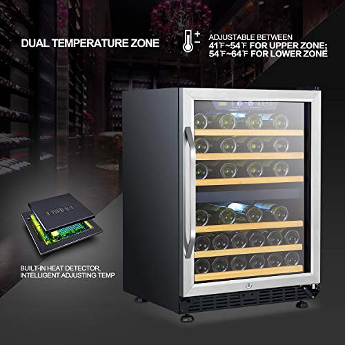 LANBO Dual Zone Wine Refrigerator, 44 Bottle Built-in Under Counter Compressor Wine Cooler, 24 Inch Wide by Lanbo (Image #4)