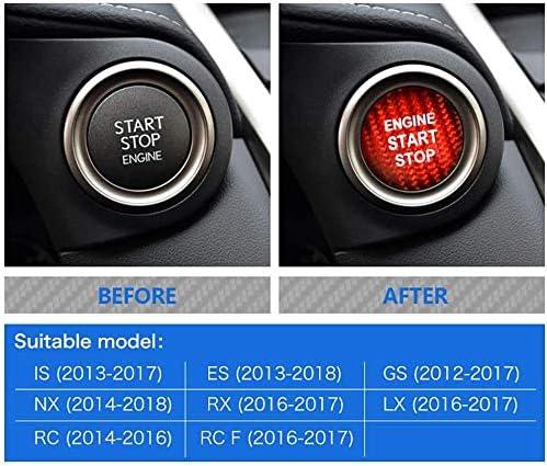 Red Carbon Fiber Car Engine Start Stop Button Sticker for Lexus S250 IS200 IS300 ES350 ES330 GS350 GS300 NX300 NX200T RX350 RX300